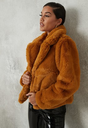 Missguided Petite Camel Shawl Collar Faux Fur Coat