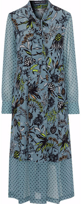 Markus Lupfer Alanis Georgette-paneled Printed Silk Crepe De Chine Midi Dress