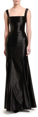 Dolce & Gabbana Stretch Duchesse Satin Square-Neck Gown