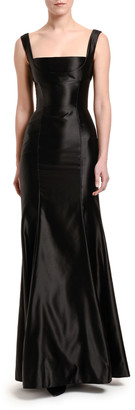 Dolce & Gabbana Stretch Duchesse Satin Square-Neck Gown