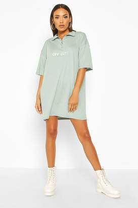 boohoo Off-Duty Embroidered High Neck T-Shirt Dress