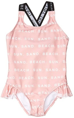 TINY TRIBE Beach Cross-Back Frilly Tank (Toddler/Little Kids) (Pink) Girl's Swimsuits One Piece
