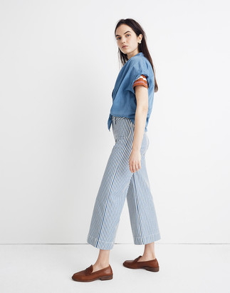 Madewell Petite Emmett Wide-Leg Crop Pants in Herringbone Railroad Stripe