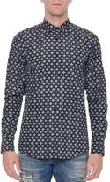 Dolce & Gabbana Multi Geo-Print Long-Sleeve Shirt, Navy