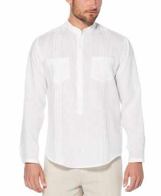 Cubavera Linen Banded Collar Popover Shirt