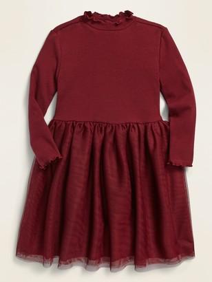 Old Navy Long-Sleeve Rib-Knit Tutu Dress for Toddler Girls