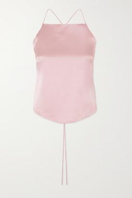 HARMUR Open-back Silk-satin Camisole - Pastel pink
