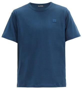 Acne Studios Nash Face-applique Organic-cotton T-shirt - Dark Blue