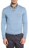 Ermenegildo Zegna High-Performance Wool V-Neck Sweater, Light Blue