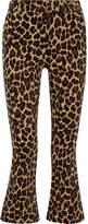 Frame Cropped Leopard-Print Cotton-Blend Velvet Flared Pants