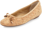 Neiman Marcus Sidney Quilted Cork Bow Flat, Natural