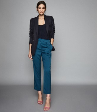 Reiss REESE PLEAT FRONT TAPERED TROUSERS Petrol