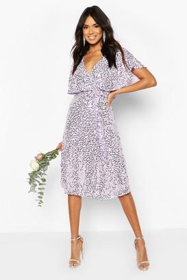 boohoo Bridesmaid Sequin Cape Detail Midi Dress
