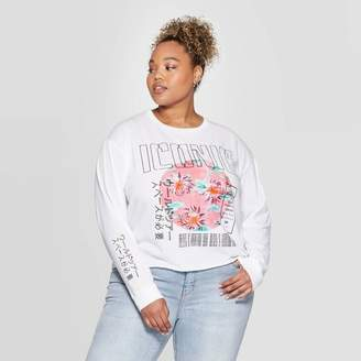 Grayson Threads Women's Iconic Plus Size Long Sleeve Cropped T-Shirt Juniors') - White