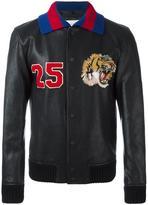 Gucci tiger embroidered bomber jacket - men - Lamb Skin/Polyamide/Spandex/Elastane/Wool - 50