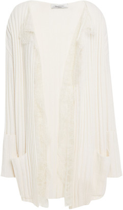 Valentino Lace-trimmed Wool And Cashmere-blend Cardigan
