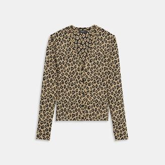 Theory Leopard Knit Cardigan