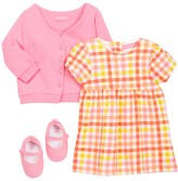 Isaac Mizrahi Gingham Dress, Cardigan & Shoe Set (Baby Girls 0-9M)