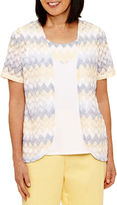 Alfred Dunner Blue Lagoon Short Sleeve Zig-Zag Layered Top