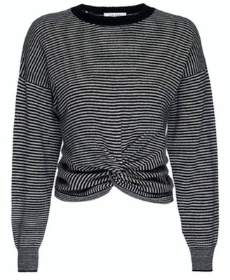 Frame Twist-Front Striped Cashmere Sweater