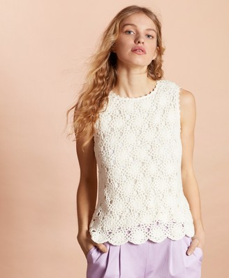 Brooks Brothers Cotton Crochet Lace Top
