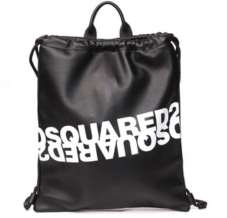DSQUARED2 Black Leather Backpack With Logo