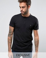 Farah T-Shirt with Henley Neck Slim Fit Exclusive