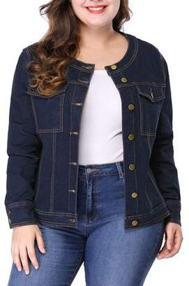 Unique Bargains Women's Plus Size Long Sleeves Collarless Denim Jacket