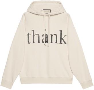 Gucci 'think/Thank' Print Hooded Sweatshirt