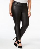 Celebrity Pink Trendy Plus Size Coated Ponté Knit Skinny Jeans
