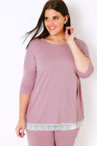 Yours Clothing Lilac Pyjama Top With Lace Hem