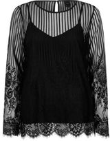 River Island Womens Black lace long sleeve top