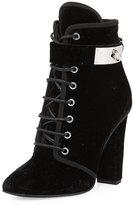 Giuseppe Zanotti Lace-Up Velvet Ankle-Buckle Boot, Black (Nero)