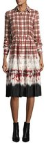 Altuzarra Maria Plaid Tie-Dye Voile Shirtdress