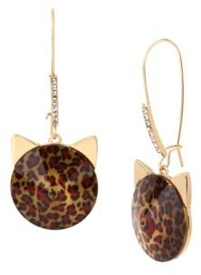 Betsey Johnson Leopard Stone Cat Long Drop Earrings