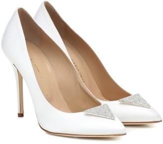 Alessandra Rich Embellished satin pumps