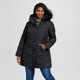 Women's Plus Size Puffer With Fur Trim Hood Black - Ava & Viv