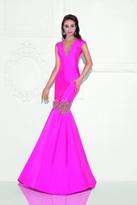 Tarik Ediz Deep V-Neck Mermaid Gown 92729