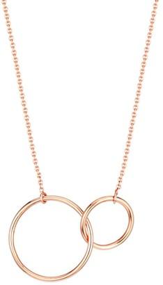 ginette_ny 18K Rose Gold Tiny Interlocking Circle Necklace