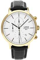 Lorus Men's 43mm Black Leather Band Steel Case Quartz Analog Watch Rm370dx9