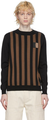 Fendi Brown and Black Cotton Crewneck Sweater