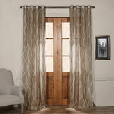 Exclusive Fabrics & Furnishing Printed Faux Linen Grommet-Top Single Sheer Curtain Panel
