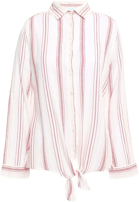 Melissa Odabash Inny Striped Cotton-gauze Shirt