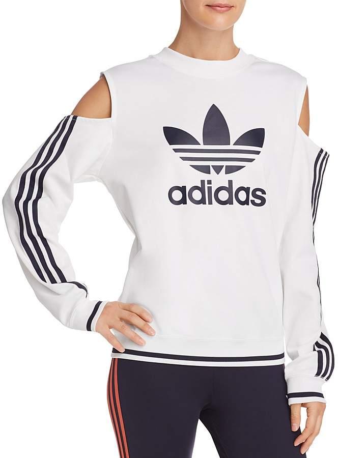 adidas Cold-Shoulder Trefoil Sweatshirt