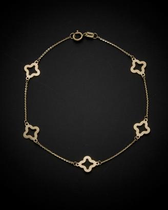 Italian Gold 14K Clover Flower Station Bracelet