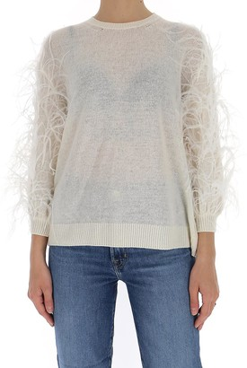 Valentino Feather Embellished Knitted Top