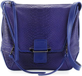 Kooba Gwenyth Leather Cobra-Print Crossbody Bag, Cobalt