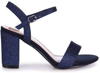 Linzi SKYLINE - Navy Glitter Open Back Barely There Block Heeled Sandal