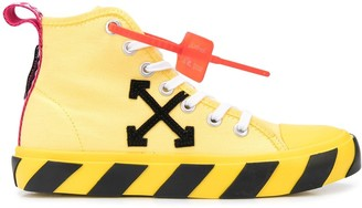 Off-White Striped Sole High-Top Sneakers