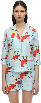 Laura Urbinati Printed Stretch Poplin Pajama Shirt